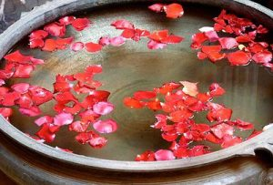 Water with flower petals